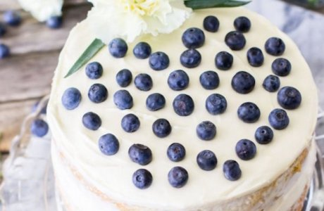 Lemon Zucchini Layer Cake with Blueberries