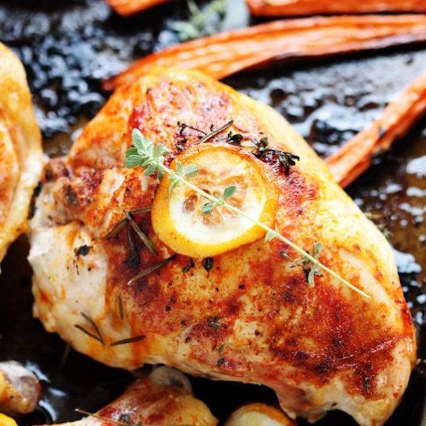 one pan herbed lemon chicken with veggies