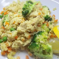 Chicken and Couscous with Broccoli, Carrots, and Peas