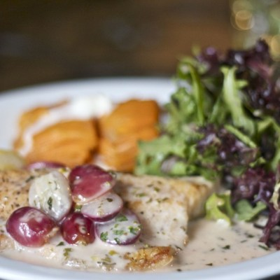 Arctic char with white wine grape sauce