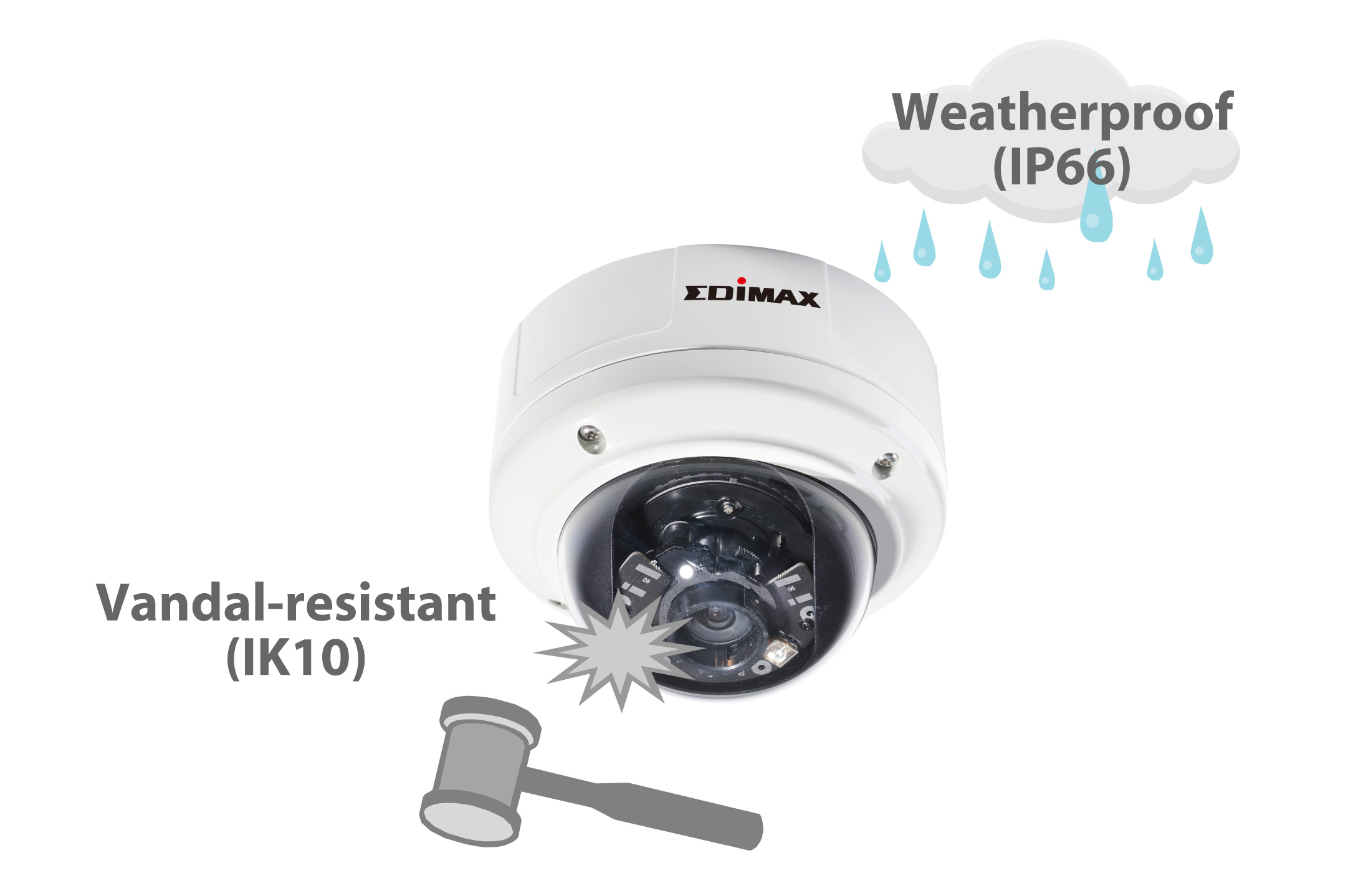Edimax Caméra Réseau Dôme 3mpx Poe True Day Night Wdr Vandal Dome Network Camera