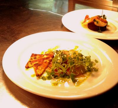 Tattie scones, Atrium cured salmon, pickled cucumber, horseradish creme fraiche