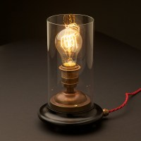Vintage Glass tube Brass Table lamp