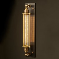 Brass Long Bulb Cage Wall Mount Lamp E27