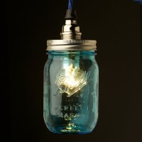 Blue glass Preserving Jar Nickel E14 pendant