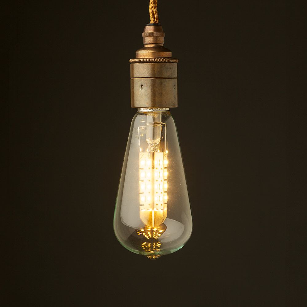 Edison Led Edison Style Light Bulb And E27 Smooth Brass Fitting