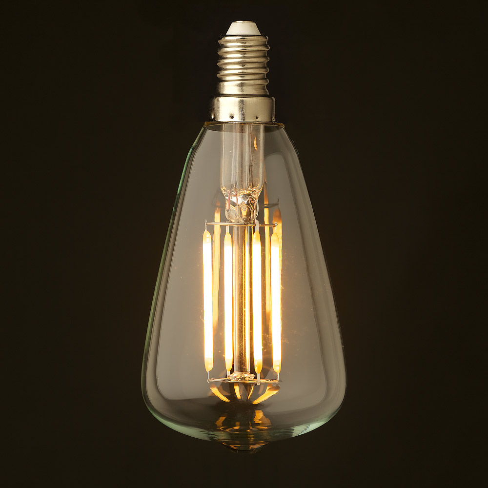 Led E 14 3 Watt Small Edison Teardrop Lantern Filament Led E14