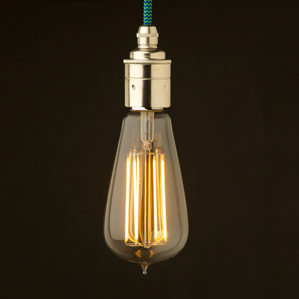 Edison Led Edison Style Light Bulb And E27 Smooth Nickel Fitting