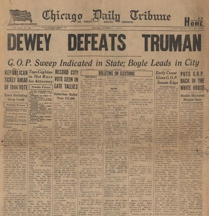 Memorable headlines: Dewey defeats Truman
