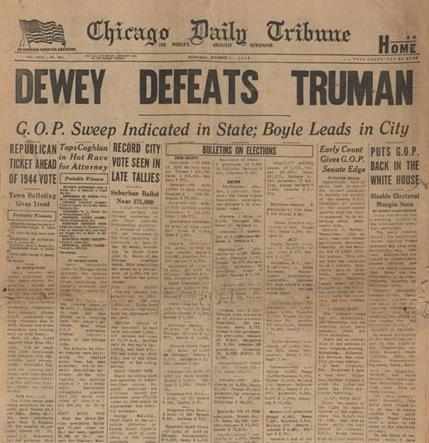 Memorable headlines: Dewey defeats Truman