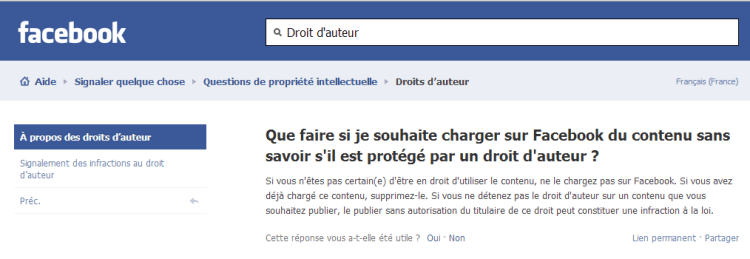 Capture Droits auteurs Facebook