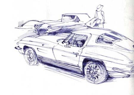 Zeichnung einer Corvette Stingray. Freie Arbeit von Jenny Adam. Die Illustratorin arbeitet nach wie vor gerne analog und erkennt, dass Leser dies in der digitalen Welt als Ausgleich schätzen.