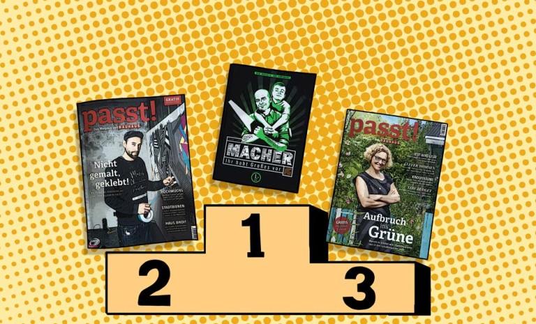 Siegertreppchen mit den Magazin-Covern von Macher (Hornbach) und Passt! (Bauhaus)