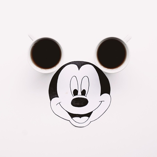 Mickey Mouse Wallpaper Black And White For Iphone Artist Uses Black Coffee And Oreos In Creative Drawings