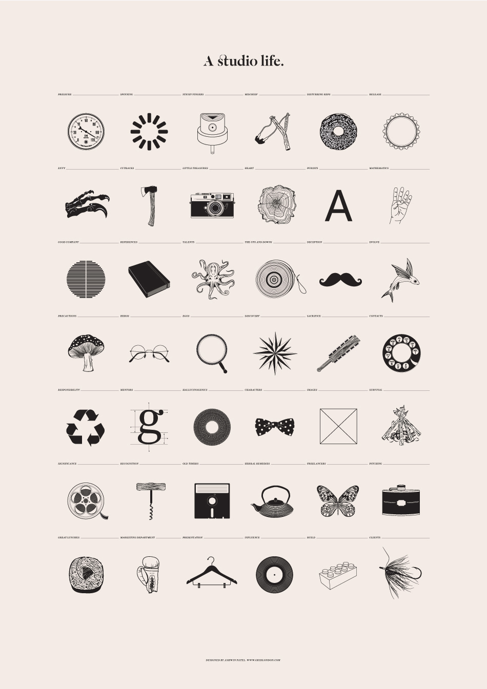 In minimalistic poster designer outlines the typical life of a design studio