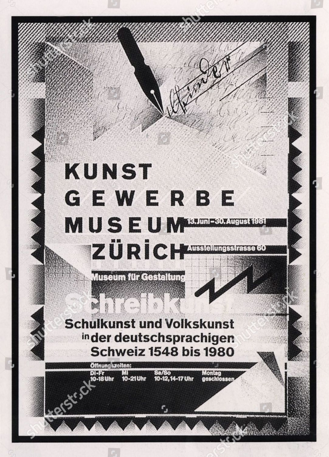 Kunst Poster Kunst Gewerbe Museum Poster By Wolfgang Weingart Editorial Stock