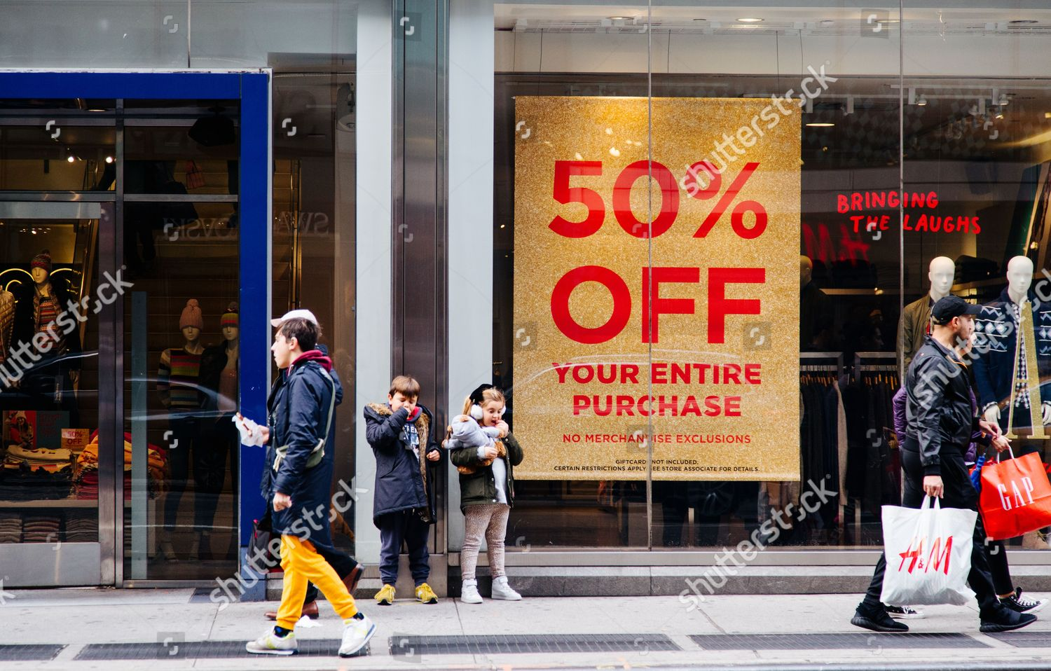 Black Friday 2016 Usa People Walk Outside Stores Sale Advertisment New Editorial Stock