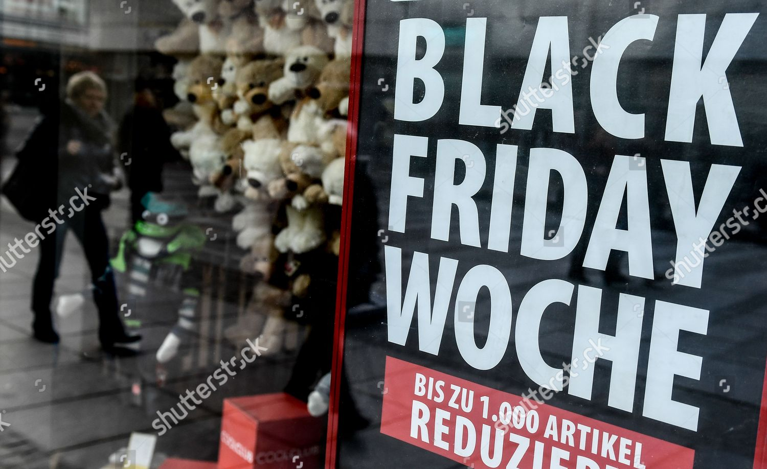Black Friday In Germany Reflection Shows Woman Walking Next Black Friday Editorial Stock