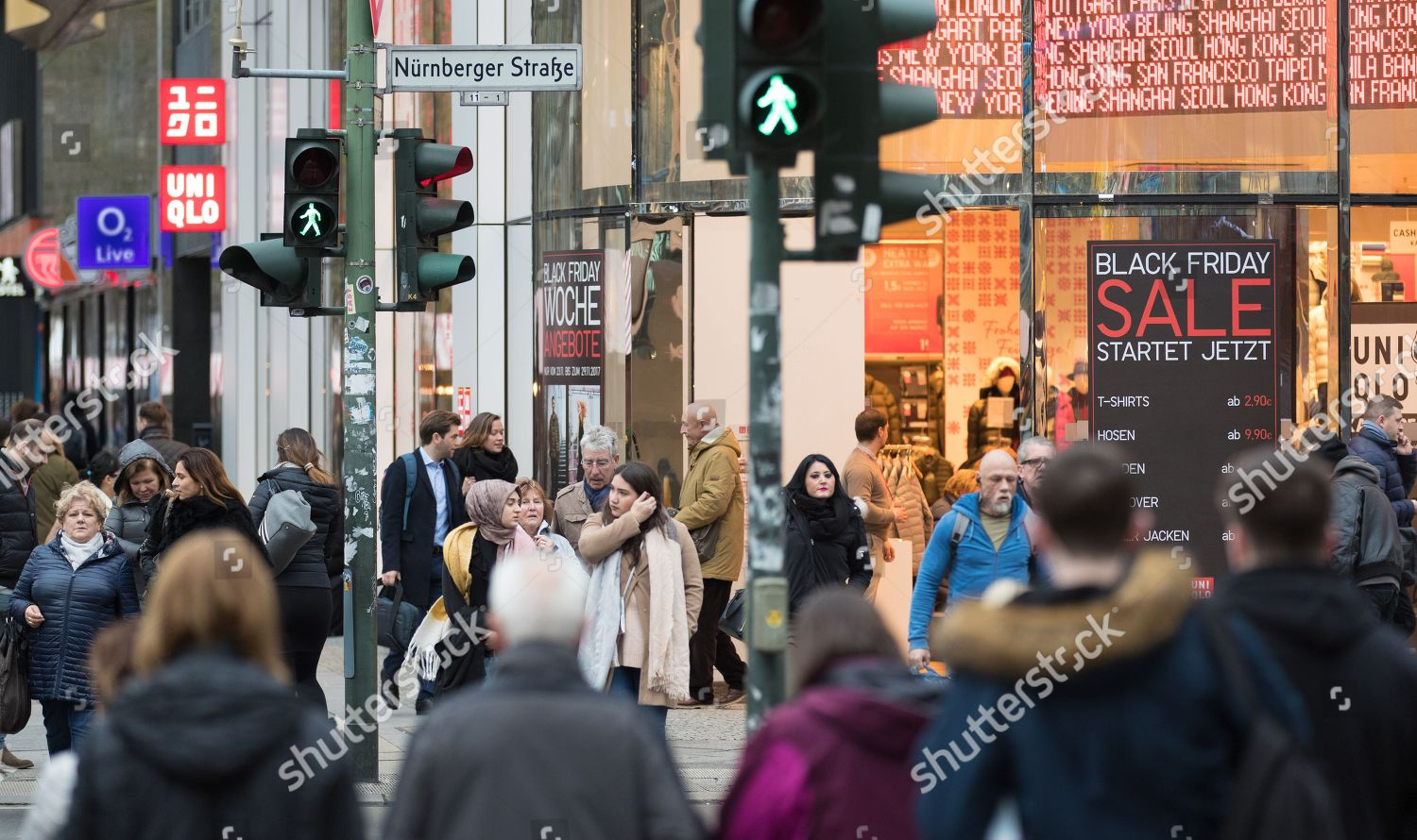 Black Friday In Germany Shoppers Walk Past Store Offering Black Friday Editorial Stock