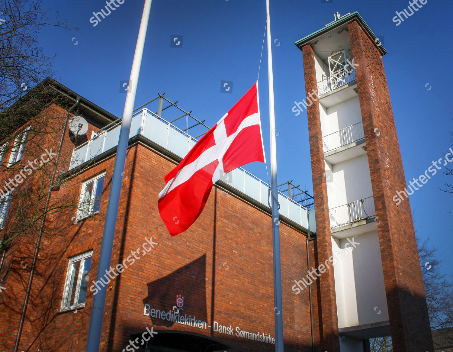 Henriks Hamburg Danish Flag Flies Half Mast Front Danish Editorial Stock Photo