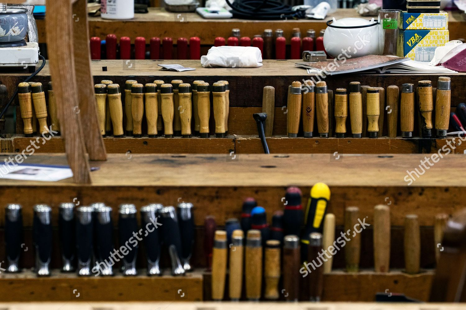 Mobilier France Multiple Tools Wait Be Used Next Workbenches Editorial Stock Photo