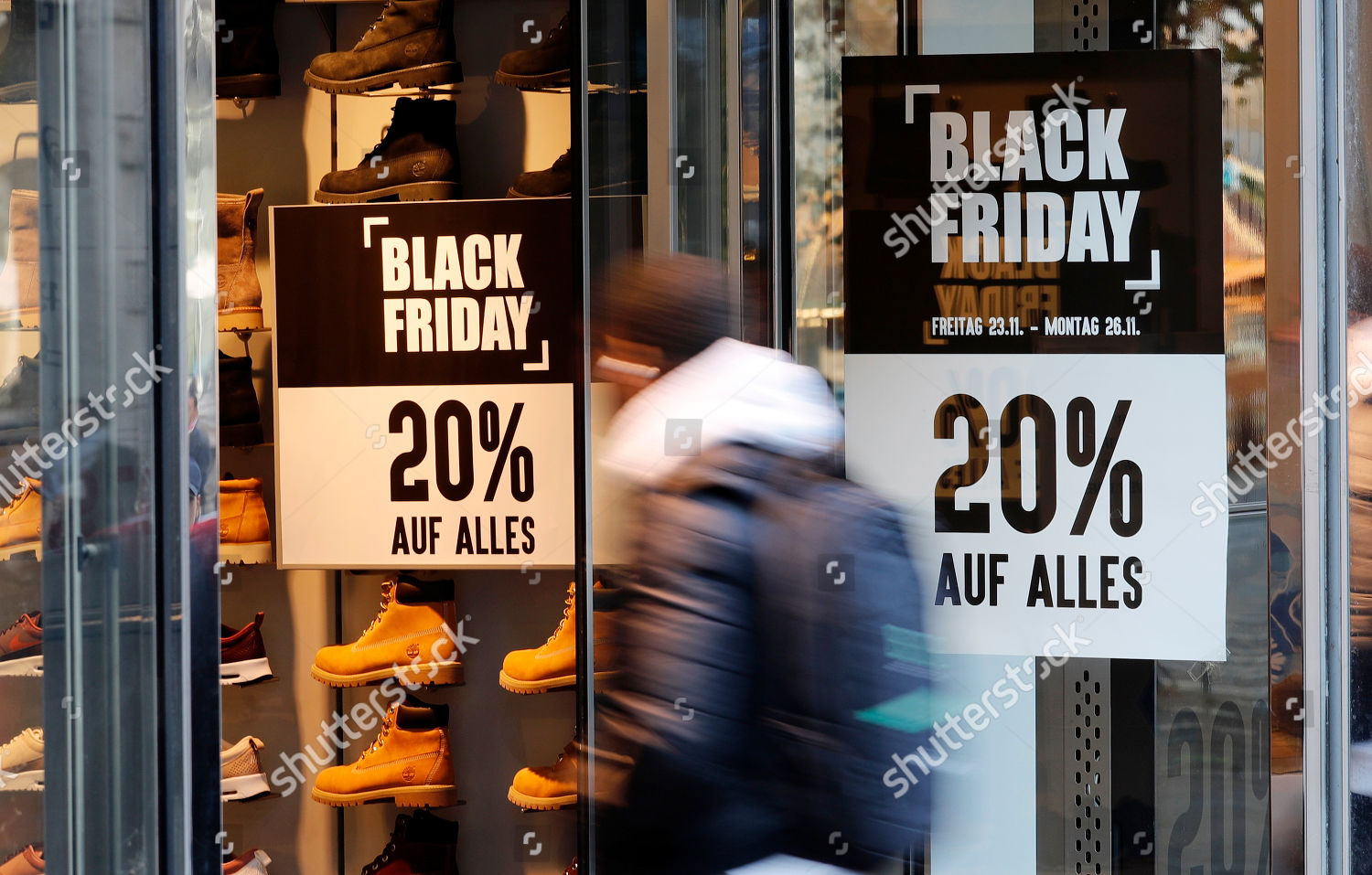 Black Friday Stuttgart Poster Letters Black Friday Hangs On Shop Stock Photo 9990620e