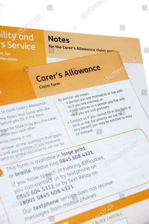 Carers Allowance application claim form Disability Carers Editorial