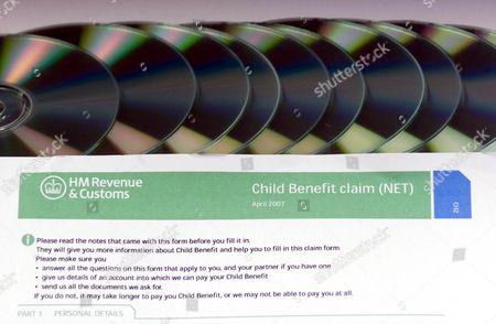 Mock HM Revenue Customs Child Benefit form Editorial Stock Photo