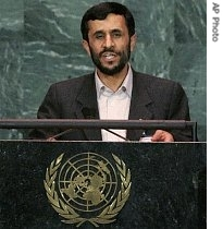 Ahmadinejad à la tribune de l'Onu Photo AP