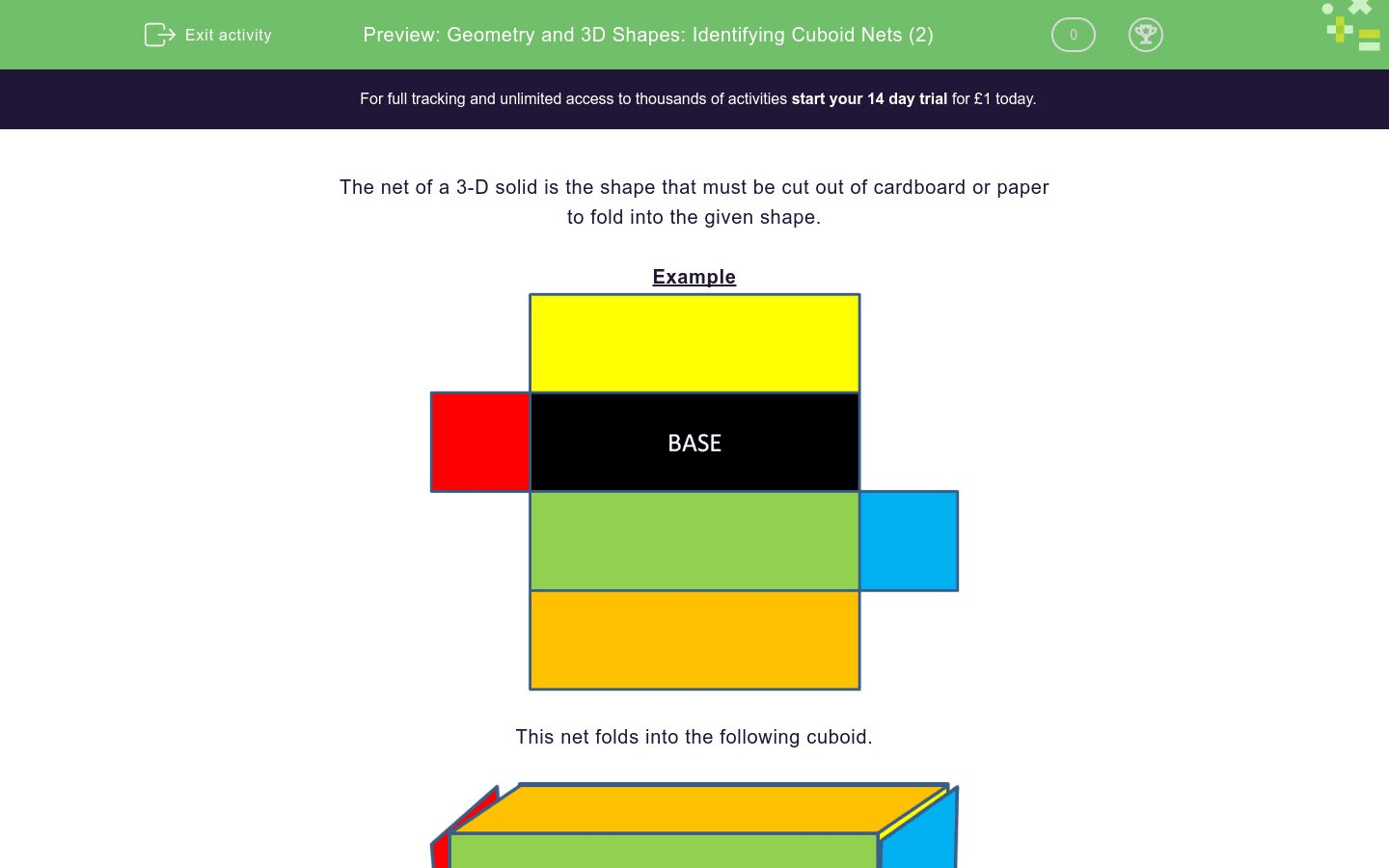 3d Net Geometry And 3d Shapes Identifying Cuboid Nets 2 Worksheet