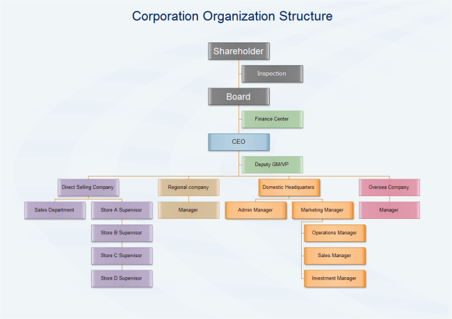 Wholesale Company Organizational Chart Corporation Organization Structure Free Corporation