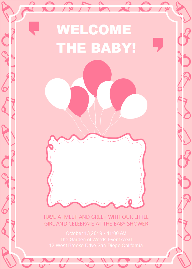 Invitation Card Edit Online Customizable Baby Shower Invitation | Free Customizable