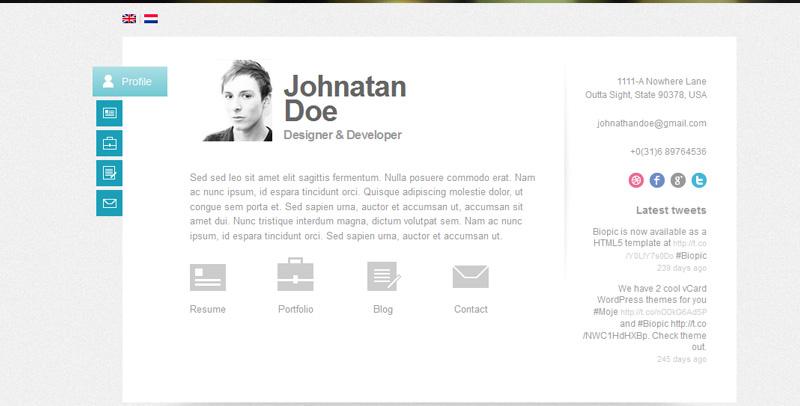 20+ Best Free \ Premium CV, Vcard Resume WordPress Themes - - wordpress resume template