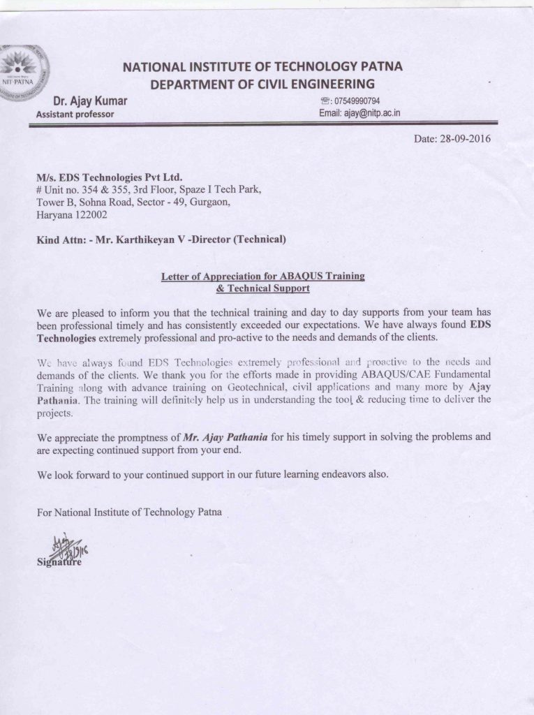 appreciation letter from NIT_patna \u2013 EDS Technologies