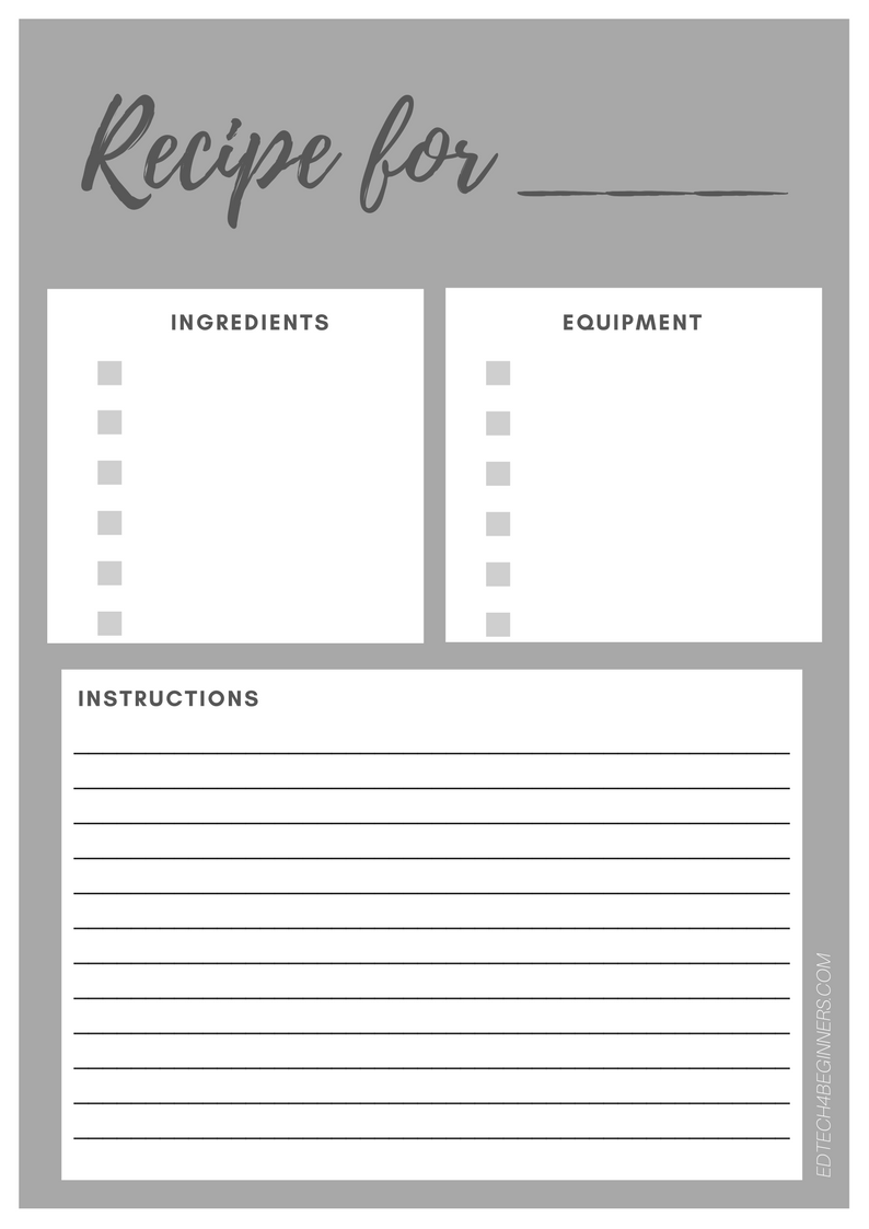 recipe writing template