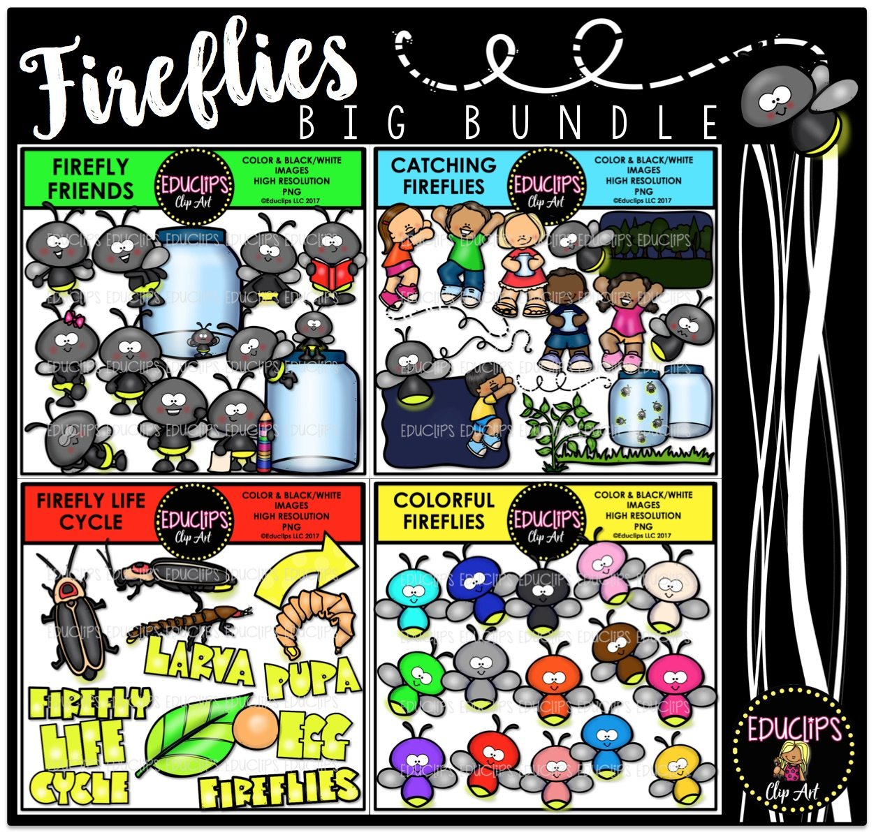 Firefly Jar Art Fireflies Clip Art Big Bundle Color And B W