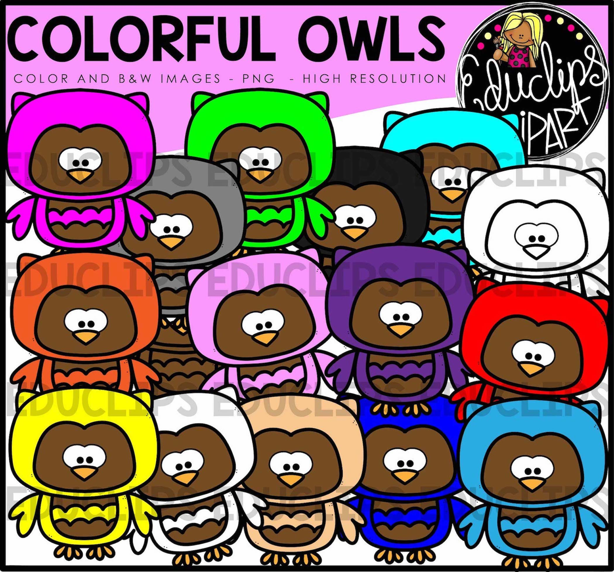 Colorful Pictures Of Owls Colorful Owls Clip Art Bundle Color And B Andw Welcome To