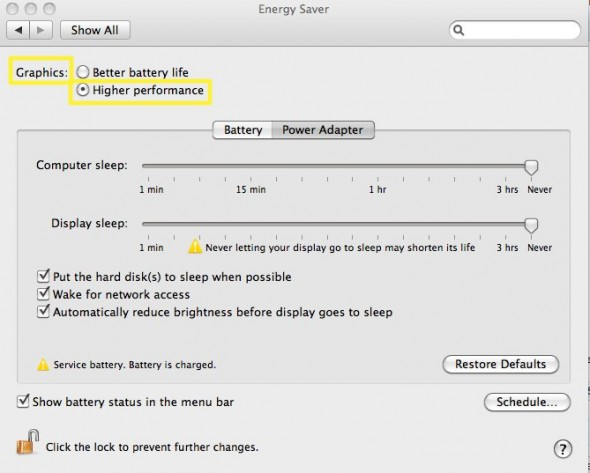 Apple MacBook Pro System Preferences Energy Saver
