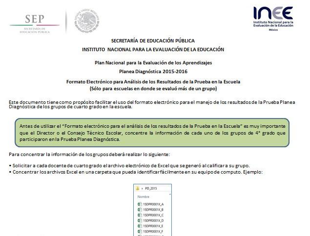 Formato para registrar las calificaciones de PLANEA Educación Primaria