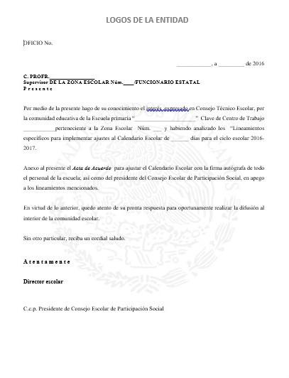 Formato de la solicitud para implementar el calendario escolar de