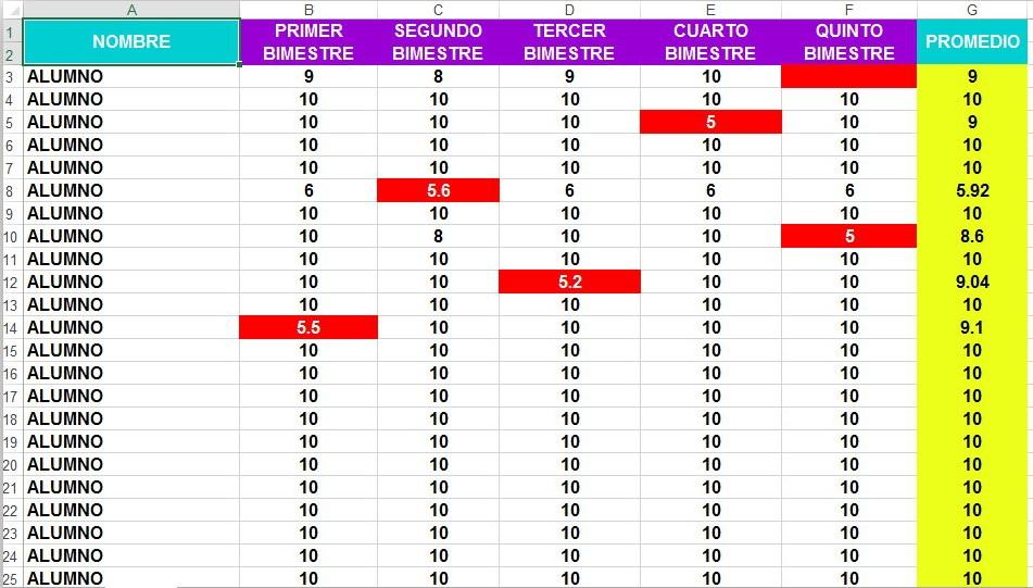 Formato en Excel para registrar y obtener las calificaciones de los - formatos para gafetes