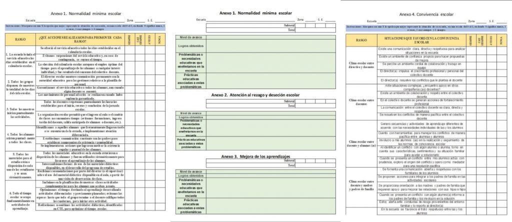 Formatos de los anexos para la fase intensiva del consejo técnico