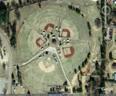Pentagram Plainly Seen from Air over Texarkana, Texas Park (May 11, 2007)
