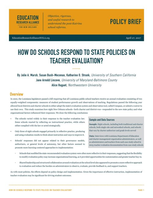 How Do Schools Respond to State Policies on Teacher Evaluation