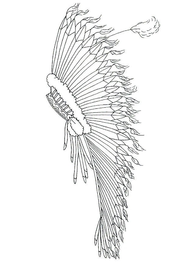 Coloring Page Feather Headdress Free Printable Coloring