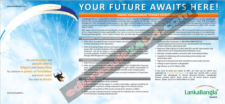 LankaBangla Finance MTO Job Circular 2016