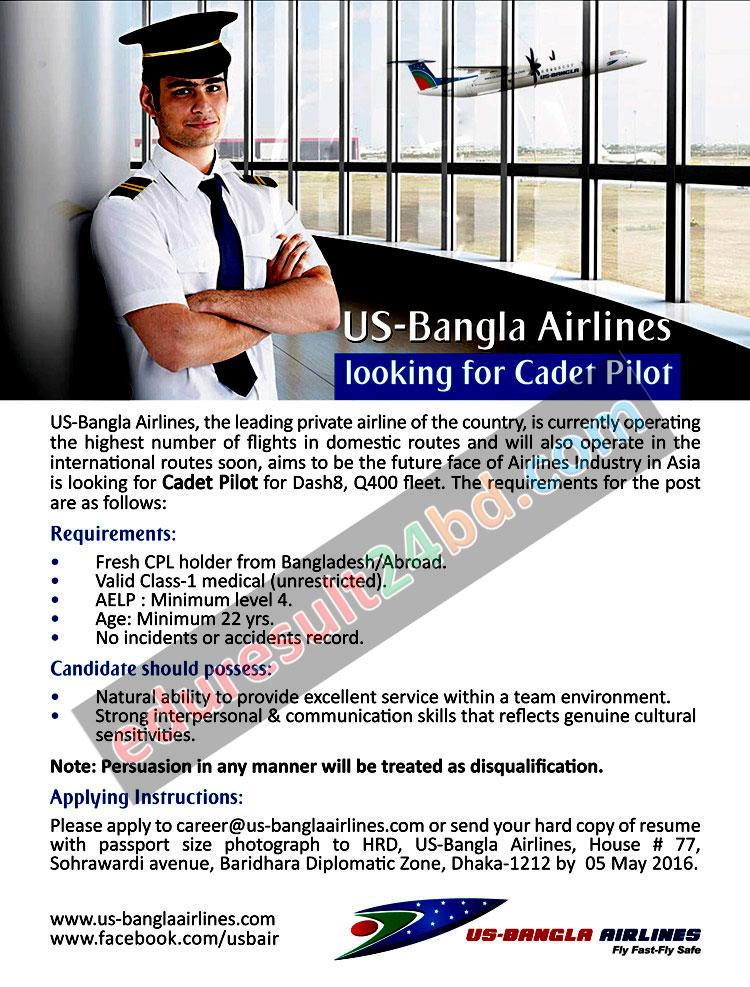 US-Bangla Airlines Cadet Pilot Job 2016