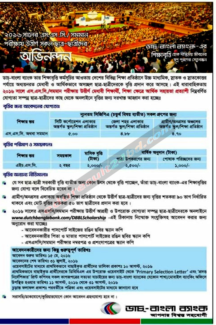 Dutch-Bangla Bank SSC Scholarship 2016
