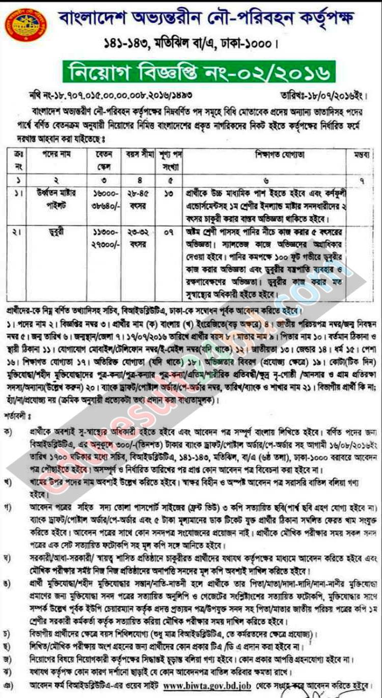 BIWTA Job Circular 2016| www.biwta.gov.bd