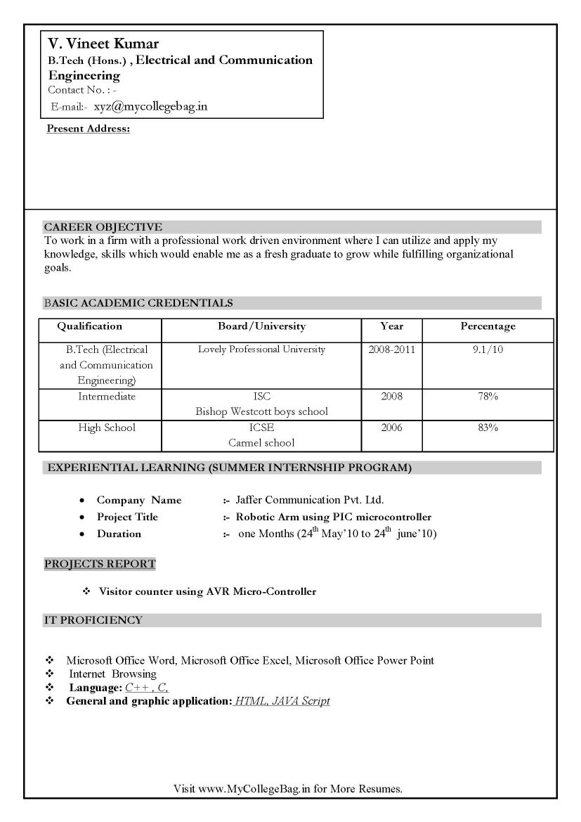 sample resume format for it freshers resume pdf sample resume format for it freshers sample cv for freshers sample cv format sample resume for